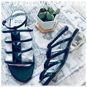 STUART WEITZMAN black jeweled block lucite heel